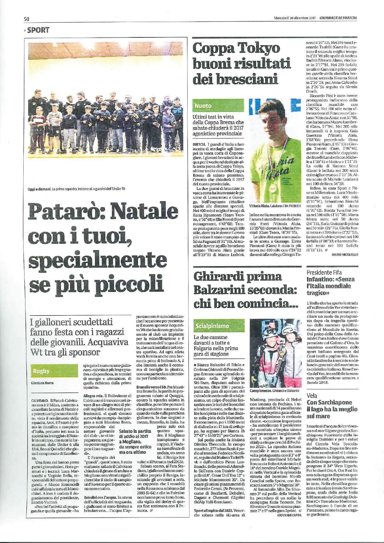 Articolo Giornale Rugby Calvisano